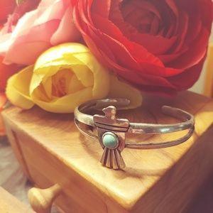 Silver tone eagle cuff bracelet
