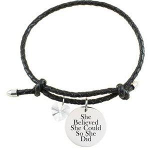 "Leather ""She Believed"" Bracelet with Swarovski"