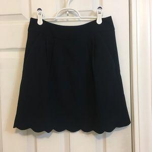LOFT Navy Scallop Hem Skirt