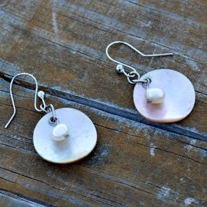 Genuine Pearl and Mother of Pearl Shell Earrings