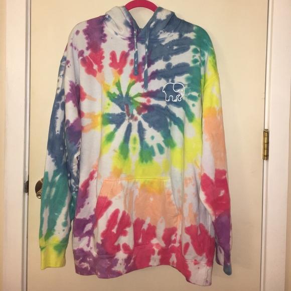 b90e913f2689 Ivory Ella Tops - Oversized Rainbow Tie-Dye Hoodie