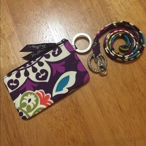 Vera Bradley Zip ID Case & Lanyard Plum Crazy