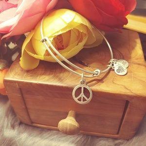 Alex & Ani distressed metal peace bracelet