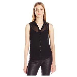 Lightweight Sheer Sleeveless Button Up Blouse/Top