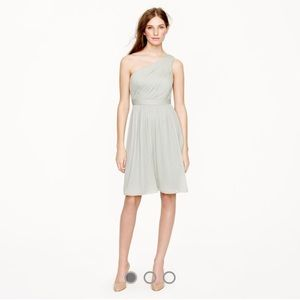 J. Crew Dusty Shale one shoulder chiffon dress