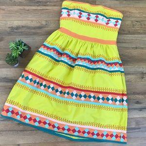 Anthropologie Leifsdottir Yellow Strapless Dress