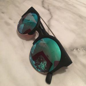 QUAY Blue Reflective Sunglasses.