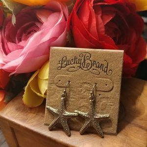 Lucky brand bronze dangling star earrings