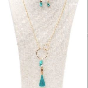 Goldtone Turquoise Tassel Necklace