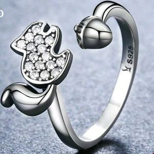 Jewelry - Cute Squirrel Adjustable .925 Silver Ring New!