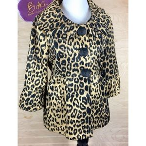 3 Sisters Fitted Leopard Print Button Up Jacket S
