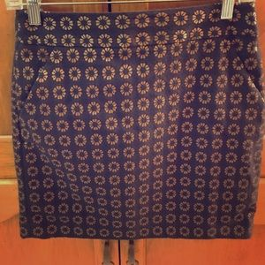 Loft navy and tan dress skirt - new without tags