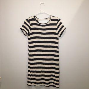 Zara Trafaluc S navy & white striped dress