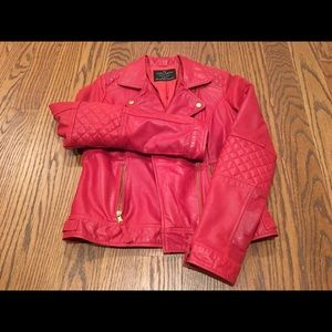 Zara red leather jacket