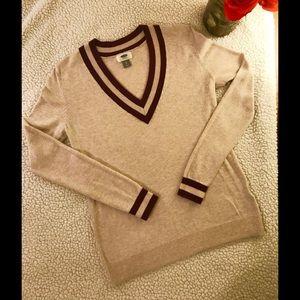 Old Navy Maroon & Cream Varsity Stripe Sweater