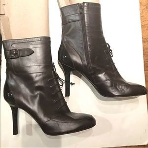 Via Spiga Leather Lace Up Heels Boots 9.5 Italy