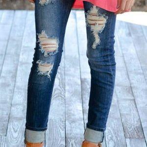 Denim - Destroyed Skinny Jeans - Dark Blue