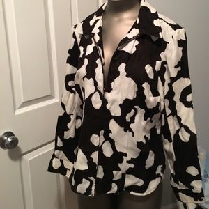 sueded fabric zip front shirt jacket 10p cow print