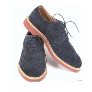 J Crew Kenton Navy Blue Suede Wing Tips Mens Shoes