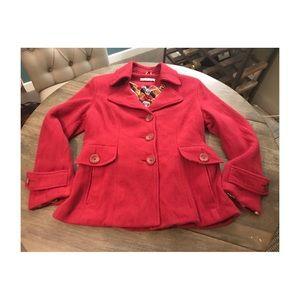 CAbi Red Cranberry Wool Winter Tea Coat/Peacoat