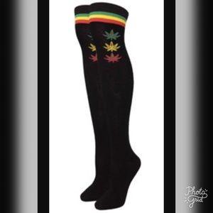 Accessories - Rasta black over the knee Socks