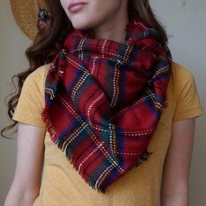 Merona Red Plaid Blanket Scarf