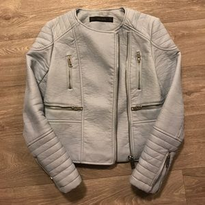 Powder blue Zara leather jacket