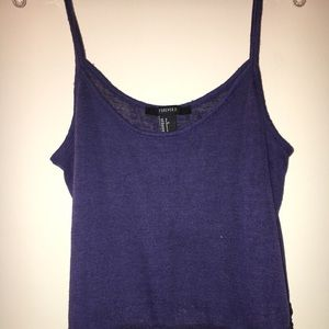 Blue tank top with lace detailing