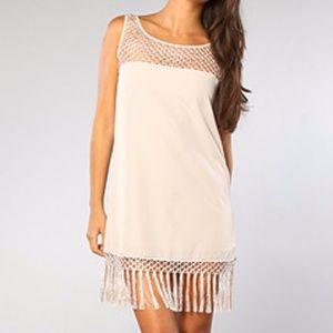 New BB Dakota MOIRA Dress Crochet Lace & Fringe