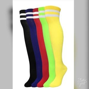 Colorful trendy over the knee socks
