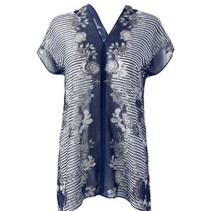 CABI Sheer Floral Stripe Yacht Top M