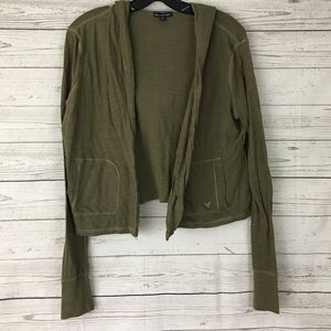 American Eagle olive green open cardigan