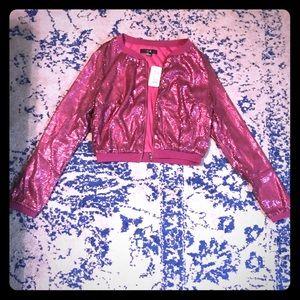 NWT Sequin Sparkle Pink Purple Bomber Jacket 🎉