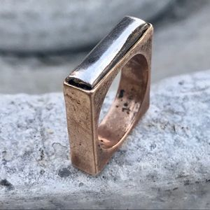 Vintage Square RING silver aged copper band  Sz 6