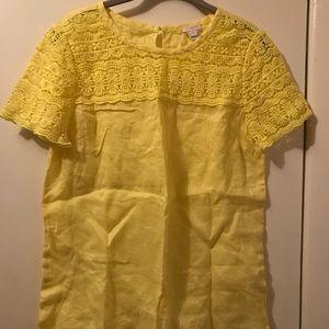 J. Crew yellow linen shirt