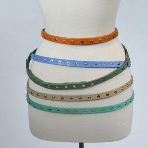 'Cala' Studded Skinny Leather Belt