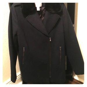 H & M faux fur collar navy/ black wool blend