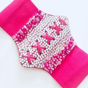 Fuchsia Pink Sparkle Corset Belt