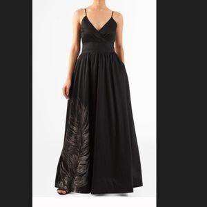 New EshaktI Fit & Flare Feather Maxi Dress 16W