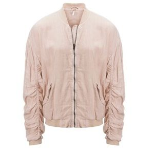 Free People ruches linen bomber jacket
