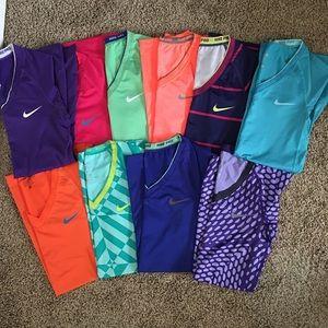 BUNDLE of 10 Nike pro tops and 1 Nike legging