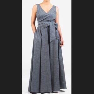 New EshaktI Chambray Fit Flare Maxi Dress 22W