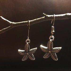 Jewelry - New Starfish Seastar Earrings Silver Tone Pierced