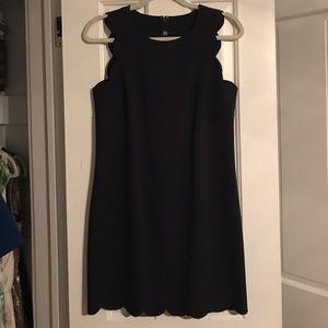EUC J. Crew navy scalloped dress