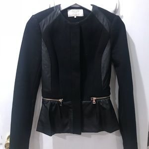 Zara faux leather and wool mix coat