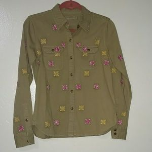 Artisan De Lux olive embroidered shirt