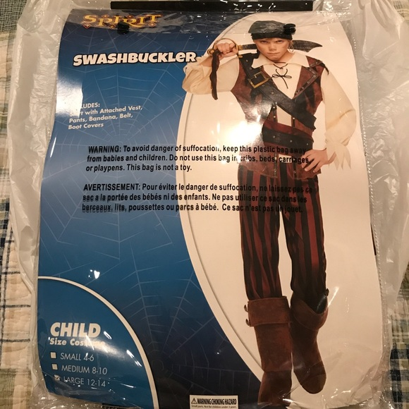 Brand New boys pirate costume size 14/16  sc 1 st  Poshmark & Spirit Halloween Costumes | Brand New Boys Pirate Costume Size 1416 ...