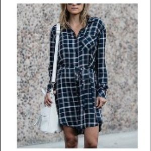 Fall plaid shirt dress with tie