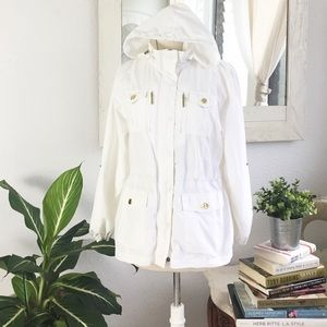 Style & Co Hooded Windbreaker White Jacket