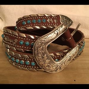 Kippy Turquoise Leather Belt